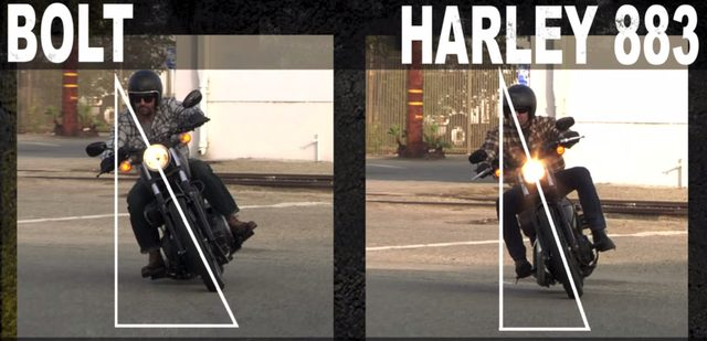 画像: さらに、最大バンク角の違いをアピール。当然BOLTのほうが速くコーナーを駆け抜けることが可能です。 www.youtube.com