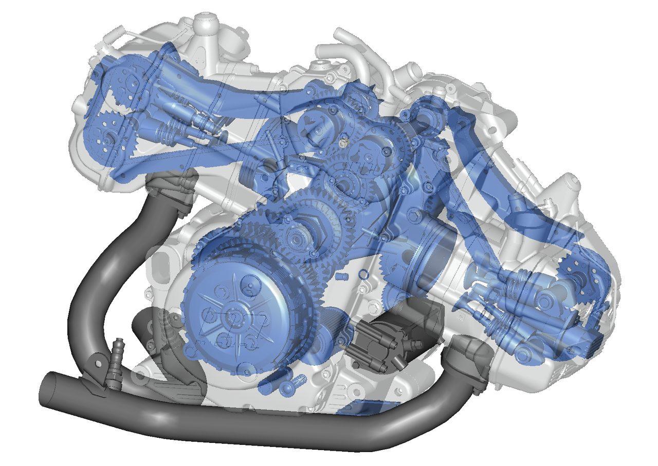 画像: エンジンのスケルトン図。クランクケースが車体と並行して置かれる、水平対向ではあるけれど、BMWの横置きとは違って、縦置き!25度に傾いています。