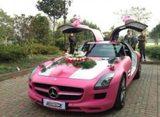 画像: ピンクのベンツのウェディングカー www.carnewschina.com