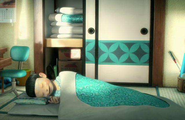 画像: その姿は朝には消えていた。押入れには畳まれた布団が。 doraemon-3d.com