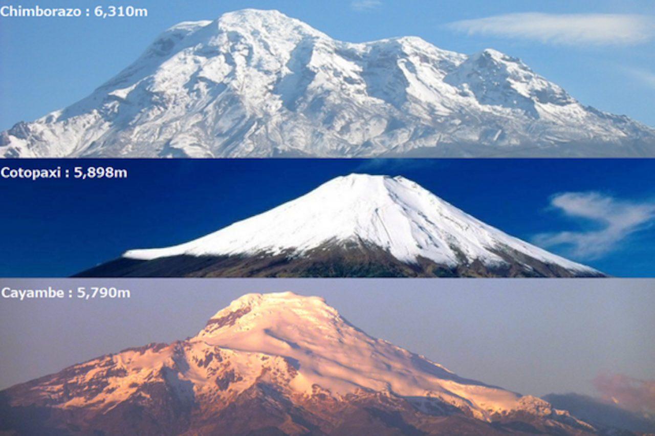画像: 南米エクアドルTOP3の山々、上から「チンボラソ」、「コトパクシ」、「カヤンベ」 readyfor.jp