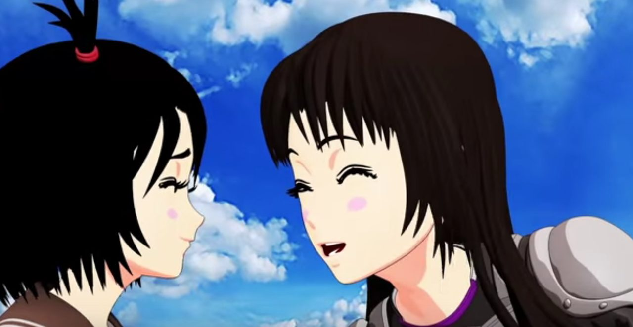 画像: 七波(左)に、バイクの楽しさを訴える楓花(右) www.youtube.com