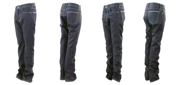 画像: これからの季節に最適な縦糸にコットン、横糸にウールが織り込まれた「17oz Wool Boots Fit:左」と通年で活躍するヘビーな「17oz Cotton Regular Fit:右」デニムジーンズ。それぞれにストレートとブーツカットがあり、他に夏用として横糸にリネンを使用したタイプもある
