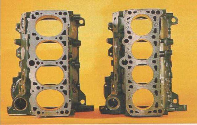 画像: 右は1.6リッターの、円柱状ピストンのクランクケース。エンジンの横方向ではなく、縦方向のオーバルであることがわかります。これは同じエンジンサイズのまま、排気量をアップするためのオーバルピストン採用スタディなのかもしれません。 www.ibiblio.org