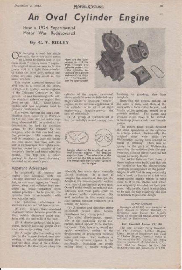 画像: 1924年に実験された、楕円ピストンの一例を紹介する「MOTOR CYCLING」の記事。気筒あたり2バルブが当たり前の時代だったので、楕円ピストンではありますがバルブの数は2にとどまっております。しかし記事中央の図説が示すとおり、通常の円柱形ピストンよりもこの楕円ピストンは大きなバルブ面積が稼げることがわかります。ピストンリングの形状は、ホンダNRのものに近いのが興味深いです。 scontent.xx.fbcdn.net