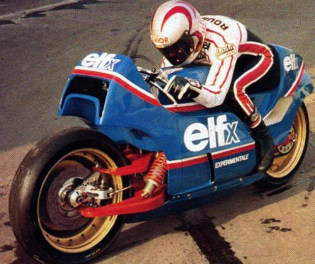 画像: ELF X 1978-1979 ド・コルタンツが手がけた最初の完成車で、フレームレ ス、前後片持ちスイングアームなどの構成が特徴です。 エンジンはヤマハTZ750を使用しております。1978年2月のパリショーで公開され、会場の話題を独占しました。 www.lerepairedesmotards.com
