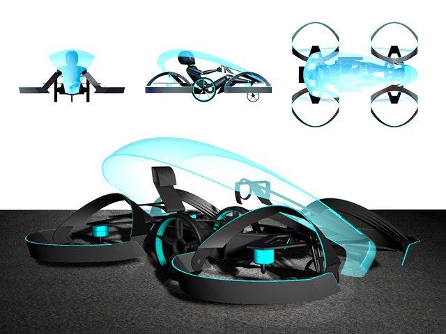 画像: 【仕様】 全長:2,900mm 全幅:1,300mm 全高:1,100mm 飛行速度(目標):100km/h 走行速度(目標):150km/h 高度(目標):〜10m cartivator.com