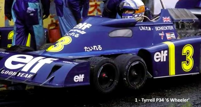 画像: 超有名なティレルの6輪こと、P34です。1976年にティレルは6輪をデビューさせ、パドックの話題を独占しました。フロントタイヤを小径にすることで、車体前面のエアフローをよくすることがその狙いでした。 www.youtube.com