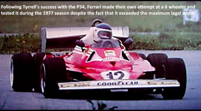 """画像: こちらはリアタイヤが4輪の""""6輪""""です。フェラーリ312T6は1977年の間テストされたマシンですが、実戦に投入されることなくお蔵入りしました・・・。 www.youtube.com"""
