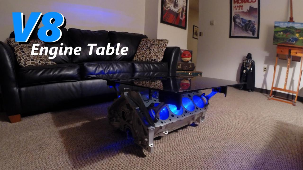 画像: V8 Engine Block Table with LEDs - Jordans Latest Project youtu.be