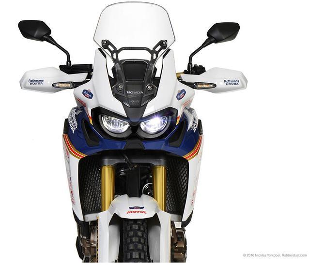 画像: フロントマスクは、こんなカンジの仕上がりです。CRF1000Lが、NXR750っぽく見えてくる? www.hallermotos.ch