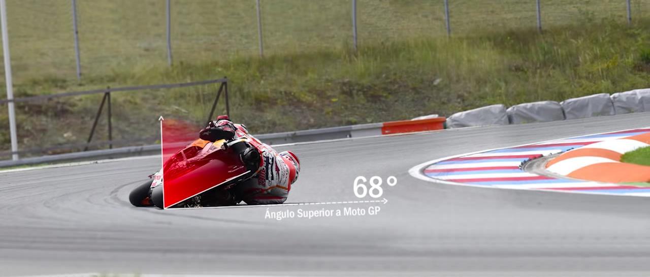 画像: で、その時の車体のバンク角は68度・・・ほとんど転んでいるようにしか思えません(笑)。 www.youtube.com