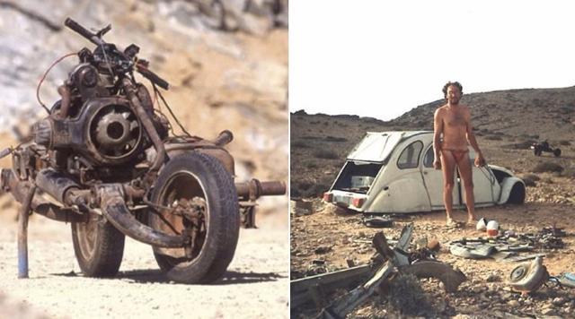 画像: Emile Leray built a working motorbike from a broken down car to escape the African desert