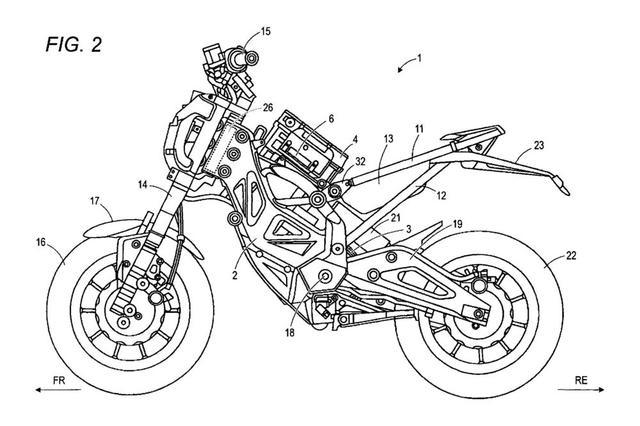 画像: 特許出願書類に掲載された図。車格はホンダグロムやカワサキZ125PROと同等と予想されます。 www.cycleworld.com