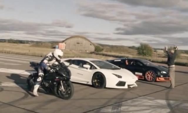 """画像1: 【動画】""""強者たちの戦い""""加速が速いのはブガッティ・ヴェイロン ?BMWS1000RR?"""