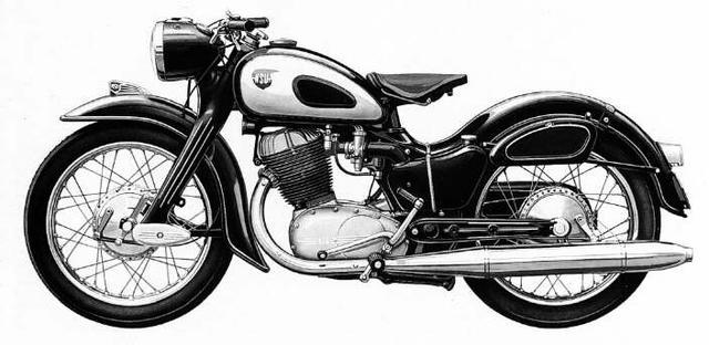 画像: A.ローダーが開発した量産公道用250cc単気筒モデル、NSUマックス。4輪車の世界ではポピュラーだった、プレス鋼板をフレームとボトムリンクフォークに採用。当時一般的なパイプフレームよりも、生産コストを低く抑えながら、十分なシャシー性能を両立しました。なお当時のホンダは、NSUから多くの影響を受けた・・・というのが世の歴史家の定説になっています。 www.maxfahrer.de