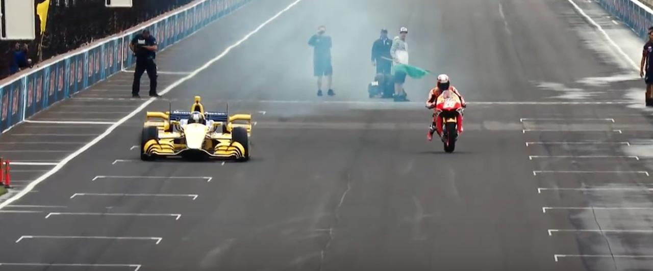 画像1: 【動画】MotoGPvsインディカーが夢の競演!競争すると、どちらが先にゴールするでしょうか?