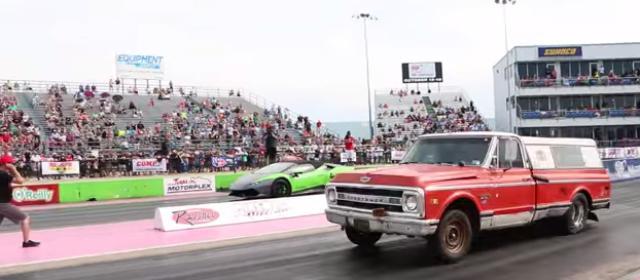 画像: 【動画】ランボルギーニと赤いトラックのドラッグレース対決。どっちが勝つでしょう??