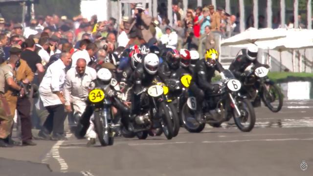 画像: レースはルマン式スタート。#6は私の友人のノートンツイン・スペシャリスト、ミック・ヘミングスですね。久しぶりに英国に行って、会いたいです(レース内容と関係ない記述ですみません)。 www.youtube.com