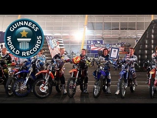 画像: Nitro Circus Break World Record for Most Simultaneous Backflips - Guinness World Records youtu.be
