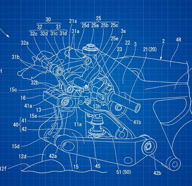 画像: ダブルウィッシュボーンの先端の内側に、ステアリングパイプが位置することがこのブループリントからわかります。 www.motorcyclistonline.com