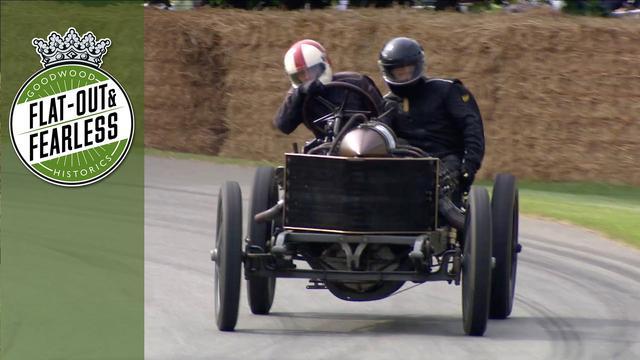画像: 1905 Darracq 200HP land speed record car seriously sideways at Goodwood youtu.be