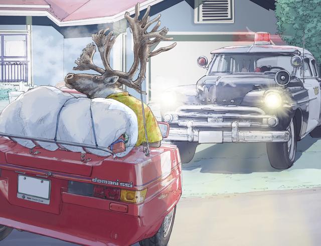 画像: おいおい、プレゼント配り、早くしてくれないと駐禁とられちゃうよ。