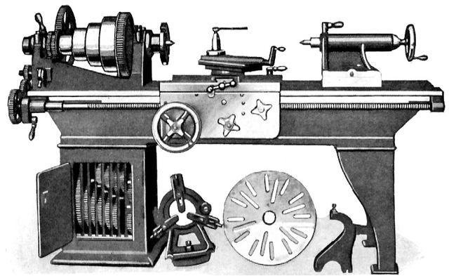 画像: 汎用旋盤はおおよそこのようなものです。主軸のチャックに素材をくわえ、回転させて、刃物台につけたバイト(刃物)で素材を削ります。 www.lathes.co.uk