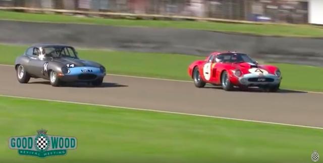 画像: ゼッケン4がフェラーリ250GTO。レースのホモロゲーションモデルとして1962年からわずかな台数が作られた特別なフェラーリで、現存するホンモノがオークションに出ると数十億円のハンマープライス必至という、世界で最も高額なクラシックカーのひとつです。 www.youtube.com