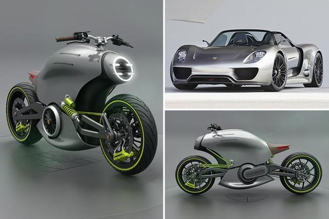 画像: Futuristic electric motorcycle modelled off Porsche's most iconic supercars