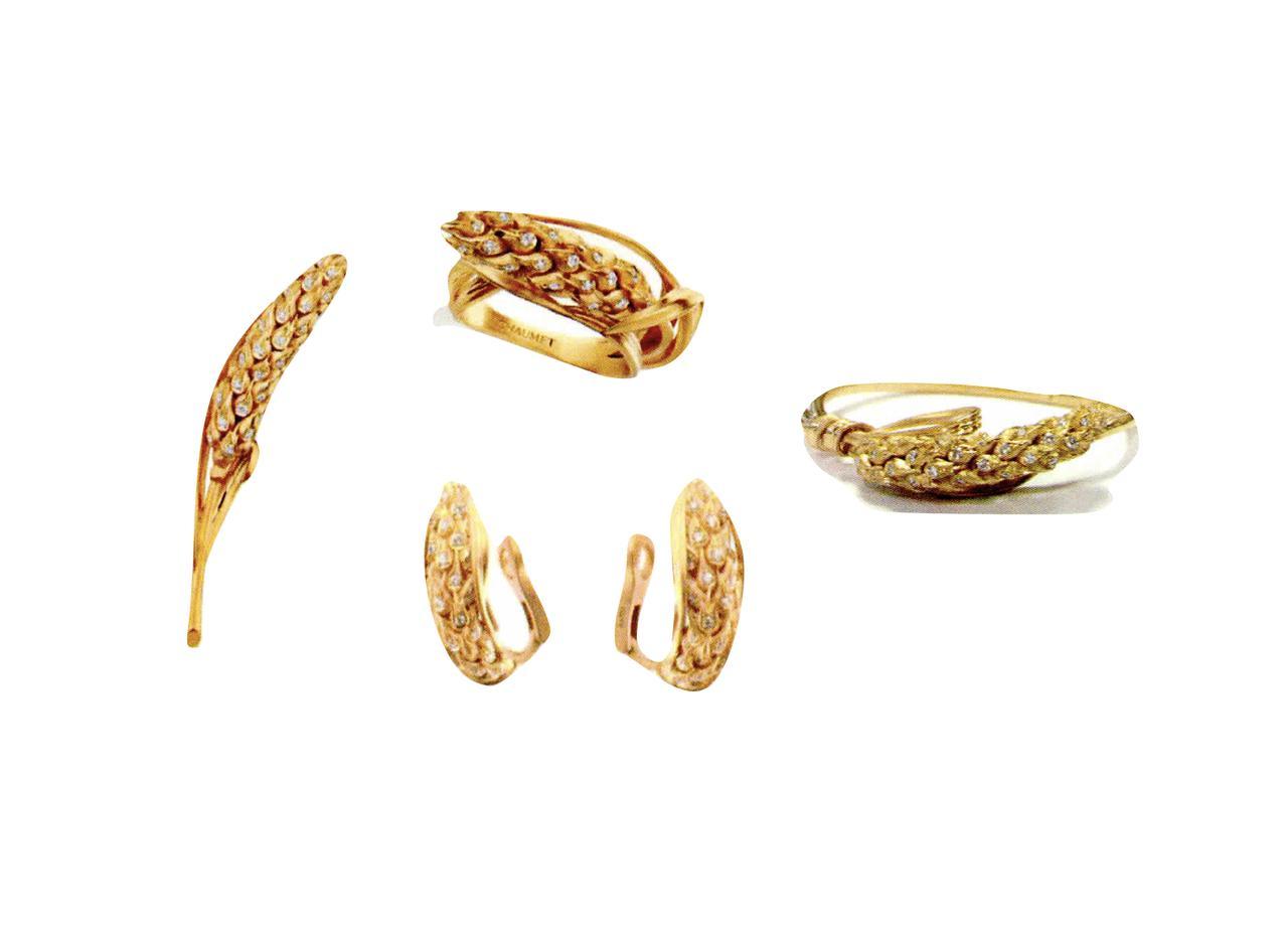 画像: (左)ブローチ、(中央上)リング、(中央下)イヤリング、(右)ブレスレット/すべてYG、ダイヤモンド