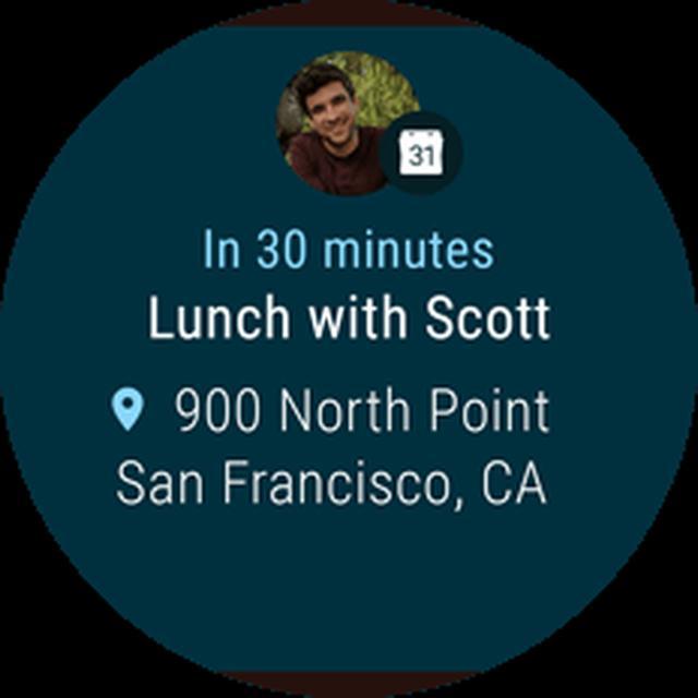 画像: 通知機能 スマートフォンを使わずに予定をチェックできます。Android Wearの通知システムにより、貴重な時間をムダなく過ごしながら、重要な情報をしっかりとキャッチできます。