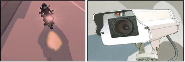 画像1: 監視カメラをスプレーで塗りつぶし、店内に侵入するスリムな黒い影