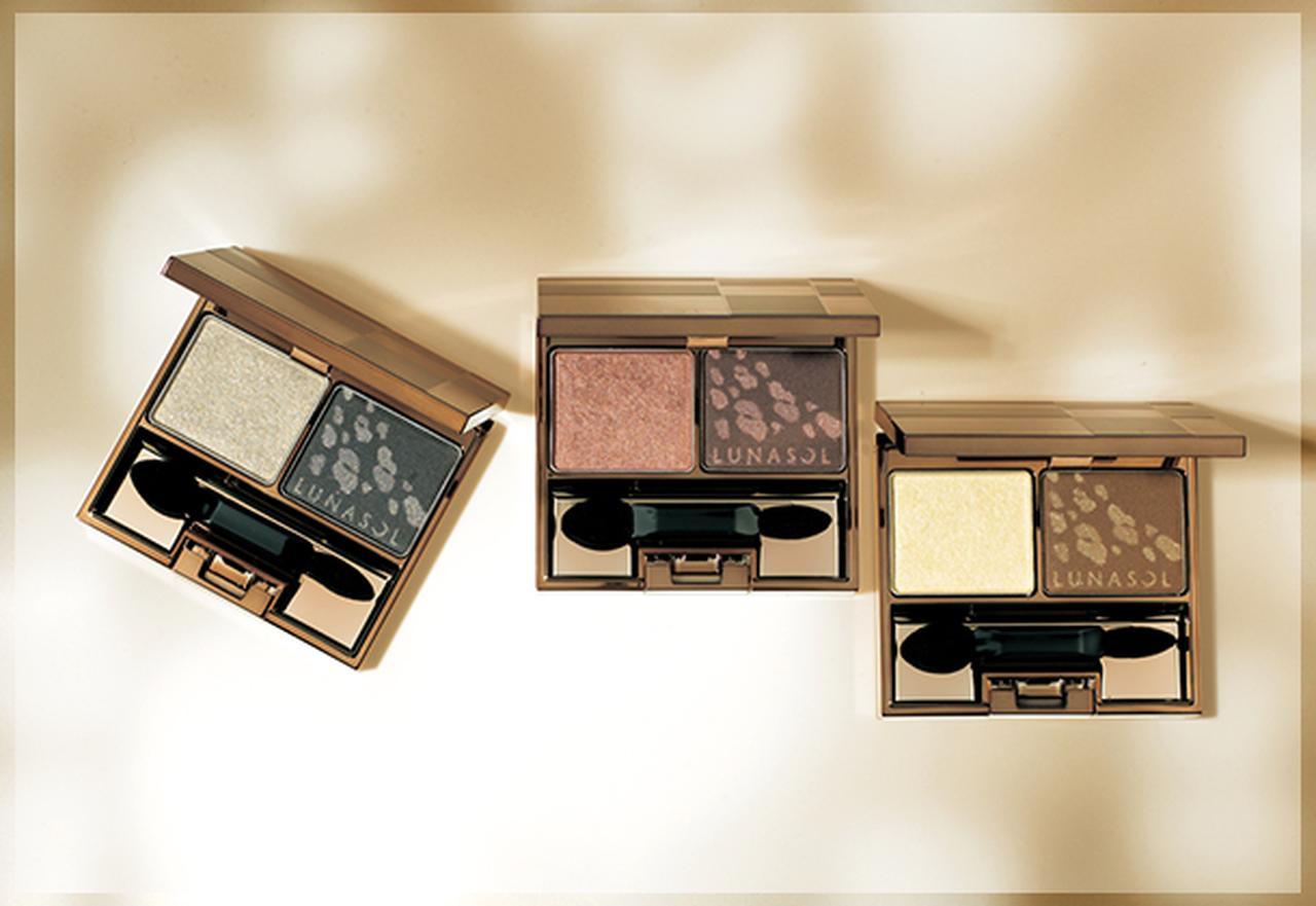 """画像: """"シャインフォールライトアイズ"""" 木洩れ日の穏やかな光と影の美しさを表現した2色セットの限定アイシャドウ。 www.kanebo-cosmetics.jp"""