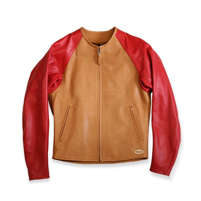 画像: F-03 price:本体価格90,000円 + 消費税 color:キャメル×レッド/ブラック×ブラック quarity:表/ポニーステア(キャメル)/ 牛キップレザー(レッド ブラック) 裏/ナイロンサテン size : S  M  L  LL スタジャンのようなラグラン袖が特徴のジャケット。 腕の自由度が大きく軽快な着心地です。 doverclub.com