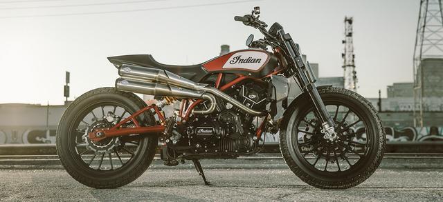 画像: ワークスチームのフラットトラックレース活動のノウハウをフィードバックした、ストリートリーガルなフラットトラッカー・・・です! www.indianmotorcycle.com