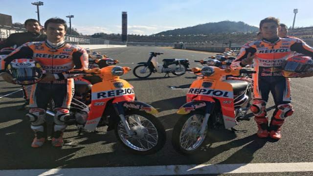 画像: Seru..Marc Marquez dan Dani Pedrosa Balapan Dengan Honda Super Cub di Honda Racing Thank Day 2017 youtu.be