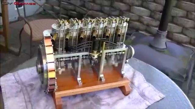 画像: 116ccのインライン6です! 動弁系はOHV。クランクシャフトがむき出しなので、4ストロークエンジンの作動原理がよくわかる教材との言えますね。 www.youtube.com