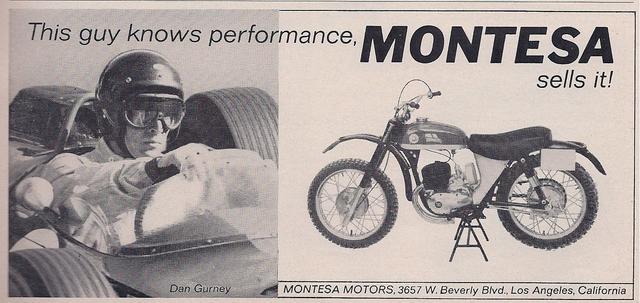 画像: ヨーロッパの2輪メーカーは当時最大の2輪消費国のアメリカ輸出に社運をかけていました。スペインのモンテッサは、アメリカでの知名度・人気を鑑み、D.ガーニーを起用した広告をいくつか制作しています。 murdercycles.blogspot.jp