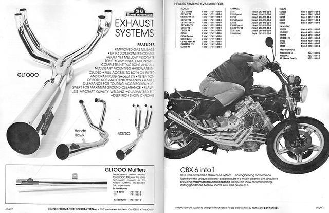 画像: こちらも1979年のDGパフォーマンスのカタログより。ホンダCBXやGL1000用のほか、ヤマハ、スズキ、カワサキの多くの機種のエキゾーストシステムをラインアップしていました。 dgperformance.com