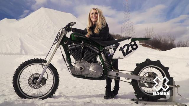 画像: H-D Snow Hill Climb Sportster w/ Dianna Dahlgren   Harley-Davidson youtu.be