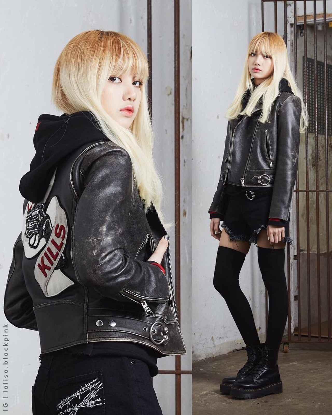 """画像1: BLACKPINK'S LISA 리사さんはInstagramを利用しています:「♡ Lisa invented leather jackets . [170615] NONA9ON 2017 F/W """"Love Kills"""" with Lisa Source: @lalisa.blackpink Image source: nona9on.com」 www.instagram.com"""