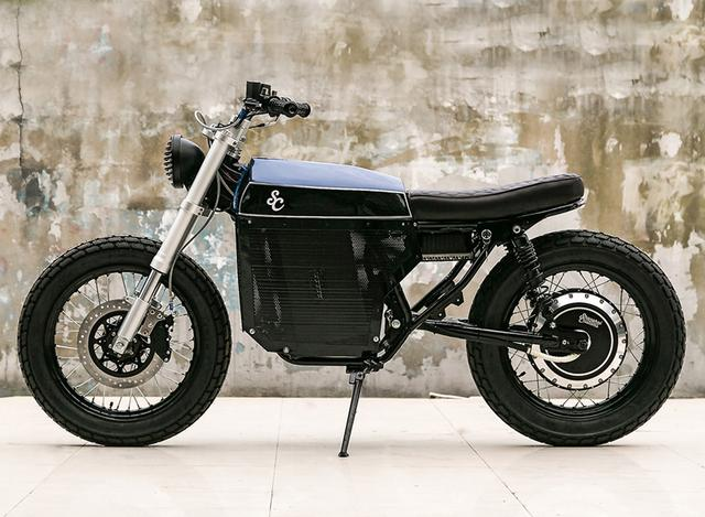 画像: street tracker electric custom motorcycle by shanghai customs