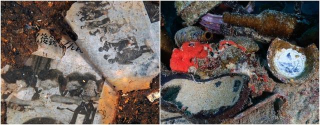 画像: 左:『平安丸』客室付近から出てきた紙の切れ端は当日の新聞か。 ーチューク(トラック諸島) 右:『神國丸』甲板に持ち出された当時の食器や靴底ーチューク(トラック諸島)