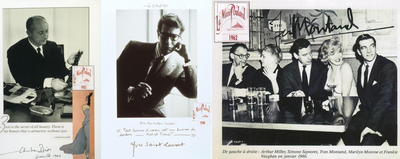 画像: (左から)クリスティアン・ディオールやイヴ・サンローラン、マリリン・モンロー