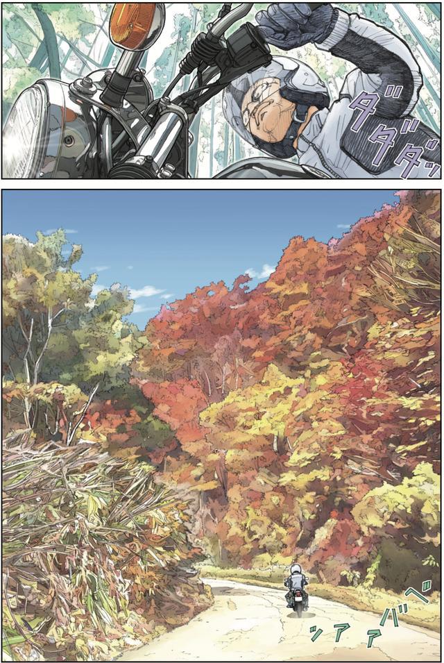 画像: 色づき始めた木々の葉を眺めながらゆっくりSRを走らせる。それがこのバイクの良さだと感じながら。