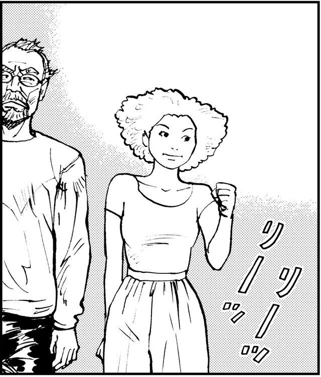 画像: シゲさんの背中を少し上気気味に見送る咲希。