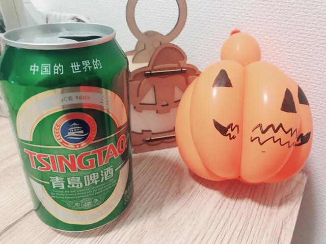 画像: 上海土産の青島ビールと三上的ハロウィン