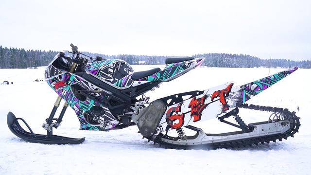 画像: Suzuki 1000cc GSX-R Snow Bike 170HP! youtu.be