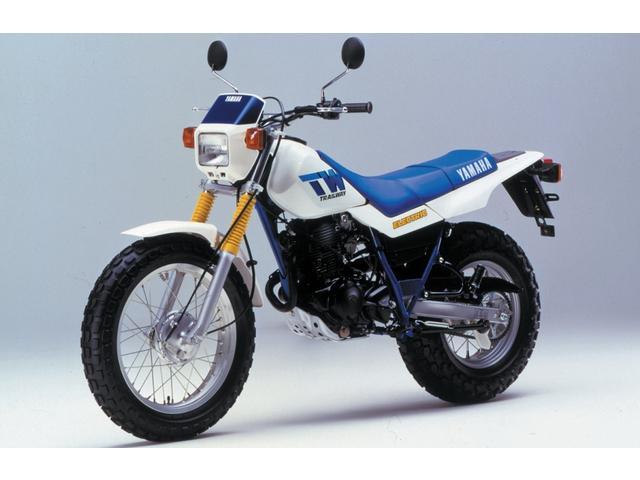 画像: 1987年デビューの初期型ヤマハTW200。4ストローク196cc単気筒を搭載。180/80-14という太いリアタイヤが、その最大の特徴でした。 www.webike.net